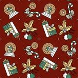Dirigez le modèle sans couture avec des décorations et des cadeaux de Noël Photographie stock libre de droits