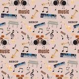 Dirigez le modèle sans couture avec des instruments de musique de jazz de be-bop Images libres de droits
