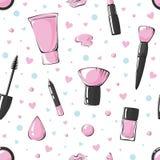 Dirigez le modèle sans couture avec des lèvres, rouge à lèvres, rougissez, brosse de maquillage, base, éponge, mascara, vernis à  illustration de vecteur