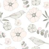 Dirigez le modèle sans couture avec des oiseaux, fleurs roses Photo libre de droits