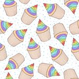 Dirigez le modèle sans couture avec des petits gâteaux et des petits pains avec l'arc-en-ciel c Images stock