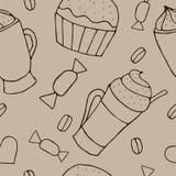 Dirigez le modèle sans couture avec des tasses de café et de petits gâteaux Photos stock