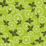 Dirigez le modèle sans couture avec des tranches de citron et de menthe Boisson de Mojito Texture de tissu illustration libre de droits