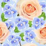 Dirigez le modèle sans couture avec des violettes et des fleurs de roses Photos libres de droits