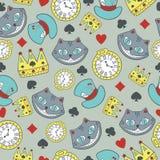 Dirigez le modèle sans couture avec du chat de Cheshire au pays des merveilles illustration stock