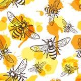 Dirigez le modèle sans couture avec l'abeille linéaire, le miel liquide et les nids d'abeilles d'aquarelle Images libres de droits