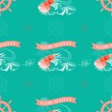Dirigez le modèle sans couture avec la crevette, citron, fruits de mer frais de mots Image libre de droits