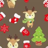 Dirigez le modèle sans couture avec la forêt tirée par la main d'arbres de Noël de griffonnage, chaussettes illustration stock