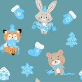 Dirigez le modèle sans couture avec la forêt tirée par la main d'arbres de Noël de griffonnage, chaussettes Lapin, renard et ours illustration stock