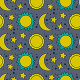 Dirigez le modèle sans couture avec la lune, le soleil et les étoiles Photos libres de droits