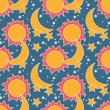 Dirigez le modèle sans couture avec la lune, le soleil et les étoiles Photo stock