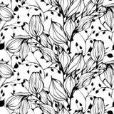 Dirigez le modèle sans couture avec la main dessinant les feuilles noires et blanches Images stock