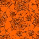 Dirigez le modèle sans couture avec la toile d'araignée sur l'orange Photos libres de droits