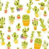 Dirigez le modèle sans couture avec les éléments tirés par la main de cactus d'isolement sur le fond blanc Image libre de droits