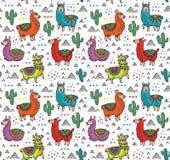 Dirigez le modèle sans couture avec les alpaga, les cactus et les triangles colorés mignons Images stock