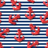 Dirigez le modèle sans couture avec les ancres rouges stylisées par 3d et les rayures bleues de marine Photo stock