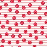 Dirigez le modèle sans couture avec les boutons rouges colorés sur le fond rayé Pour l'invitation thématique, papier de chute, pa Photo libre de droits