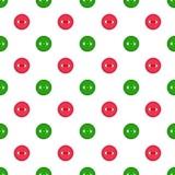 Dirigez le modèle sans couture avec les boutons rouges d'abd vert sur le fond blanc Pour l'invitation thématique, papier de chute Photo libre de droits