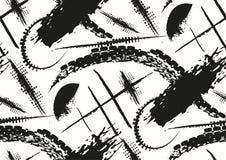 Dirigez le modèle sans couture avec les courses tirées par la main et les rayures texturisées de brosse peintes à la main art de  illustration libre de droits