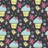 Dirigez le modèle sans couture avec les gâteaux mignons, les cerises sous forme de coeurs et les fleurs Image stock