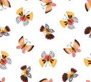 Dirigez le modèle sans couture avec les papillons décoratifs mignons sur le fond blanc Conception élégante lumineuse de tissu Image libre de droits