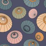 Dirigez le modèle sans couture avec les parapluies colorés du Japon de vintage Images libres de droits