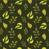 Dirigez le modèle sans couture d'automne sur un fond vert-foncé Illustration Stock