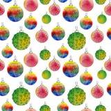 Dirigez le modèle sans couture de boules d'aquarelle avec les elementss tirés par la main Photo stock