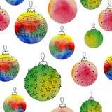Dirigez le modèle sans couture de boules d'aquarelle avec les elementss tirés par la main Peut être employé pour des pages Web, i Photo stock