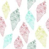 Dirigez le modèle sans couture de crème glacée avec les illustrations tirées par la main de crème glacée d'ensemble illustration libre de droits