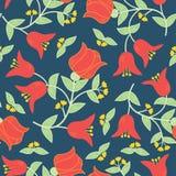 Dirigez le modèle sans couture de fleurs dans le style russe traditionnel Image stock