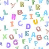 Dirigez le modèle sans couture de l'alphabet tiré par la main du ` s d'enfants lettres du griffonnage 3D Fond de police d'ABC pou Image libre de droits