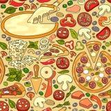 Dirigez le modèle sans couture de l'ingrédient coloré tiré par la main de pizza Photos libres de droits
