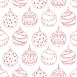 Dirigez le modèle sans couture de la boule tirée par la main rouge d'arbre de Noël Image libre de droits