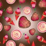 Dirigez le modèle sans couture de la crème glacée, des gâteaux et des pâtisseries  Images libres de droits