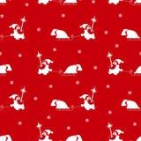 Dirigez le modèle sans couture de la silhouette blanche de Santa Claus Images libres de droits