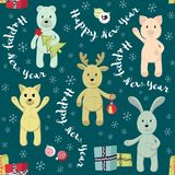 Dirigez le modèle sans couture de Noël avec des animaux de jouet illustration stock