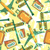 Dirigez le modèle sans couture de voyage avec les billets, la valise, les bagages, les avions, etc. Photographie stock libre de droits