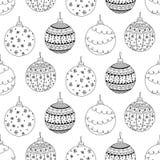 Dirigez le modèle sans couture du jouet tiré par la main de boule de Noël Photographie stock libre de droits