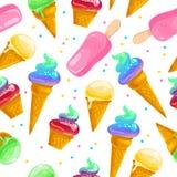 Dirigez le modèle sans couture plat avec les cornets de crème glacée, l'esquimau doux et les confettis d'isolement sur le fond bl Photos stock