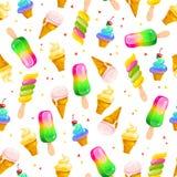 Dirigez le modèle sans couture plat avec les cornets de crème glacée, l'esquimau doux et les confettis d'isolement sur le fond bl Photo stock