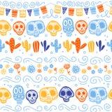 Dirigez le modèle sans couture pour la célébration traditionnelle du Mexique - dia de los muertos illustration libre de droits