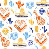 Dirigez le modèle sans couture pour la célébration traditionnelle du Mexique - dia de los muertos illustration de vecteur
