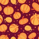Dirigez le modèle sans couture rouge foncé orange de répétition de points de polka de potirons Image libre de droits