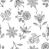 Dirigez le modèle sans couture tiré par la main, fleurs puériles noires et blanches stylisées décoratives Style de croquis de gri Photos stock