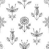 Dirigez le modèle sans couture tiré par la main, fleurs puériles noires et blanches stylisées décoratives Style de croquis de gri Photos libres de droits