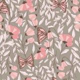 Dirigez le modèle sans couture traditionnel avec des papillons de monarque, des éléments floraux et des fleurs de ressort Image stock