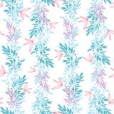Dirigez le modèle sans couture vertical d'été tropical rose bleu de feuilles Images stock