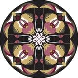 Dirigez le modèle traditionnel oriental de cercle de poisson rouge de fleur de lotus Image libre de droits