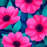 Dirigez le modèle tropical avec waterlily, fleur de lotus Modèle sur toute la surface floral étonnant, avec le grand beau vintage Images stock